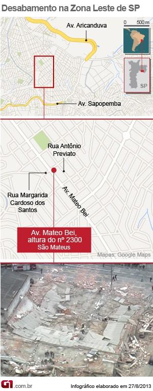 Desabamento em São Mateus (Foto: Arte/G1)
