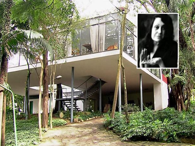 Casa de Vidro, no Morumbi, Zona Sul de São Paulo, projeto da arquiteta Lina Bo Bardi (destaque à direita) (Foto: Reprodução TV Globo/Arquivo Lina Bo Bardi)