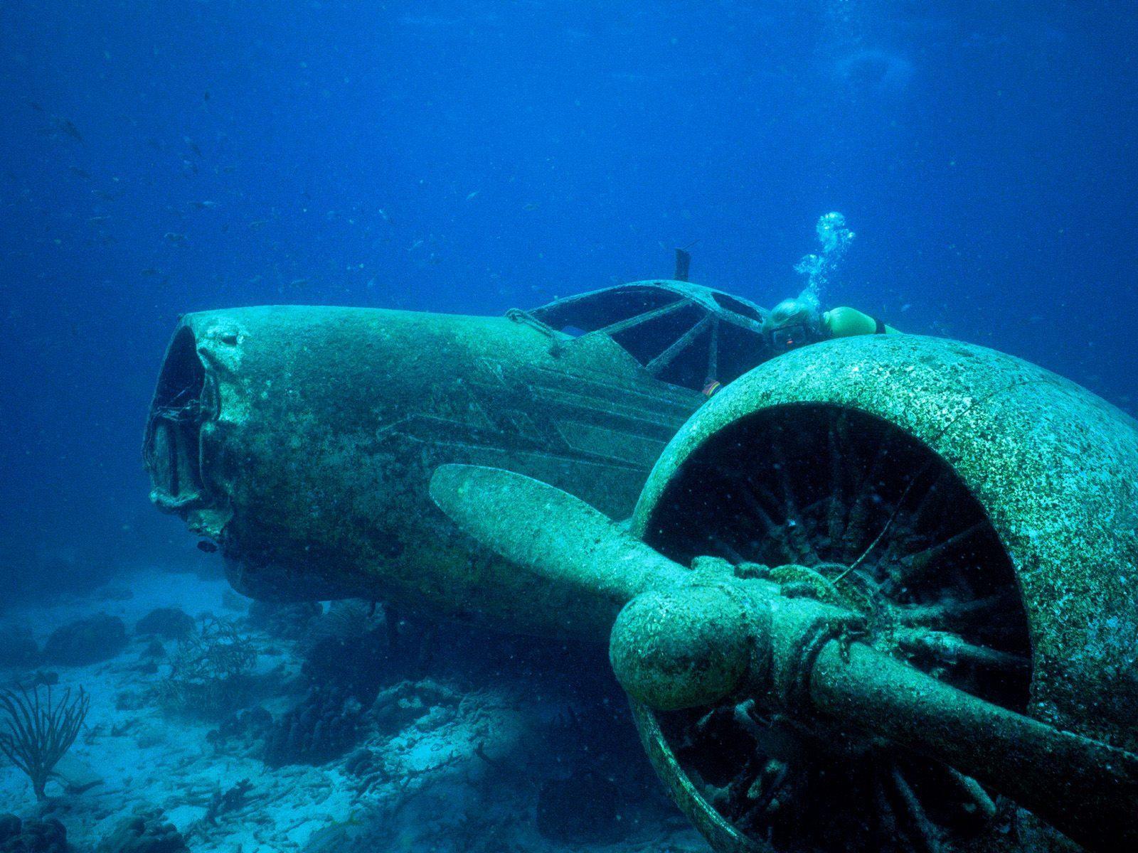 Aviões submersos na região do Triângulo das Bermudas (Foto: Reprodução)