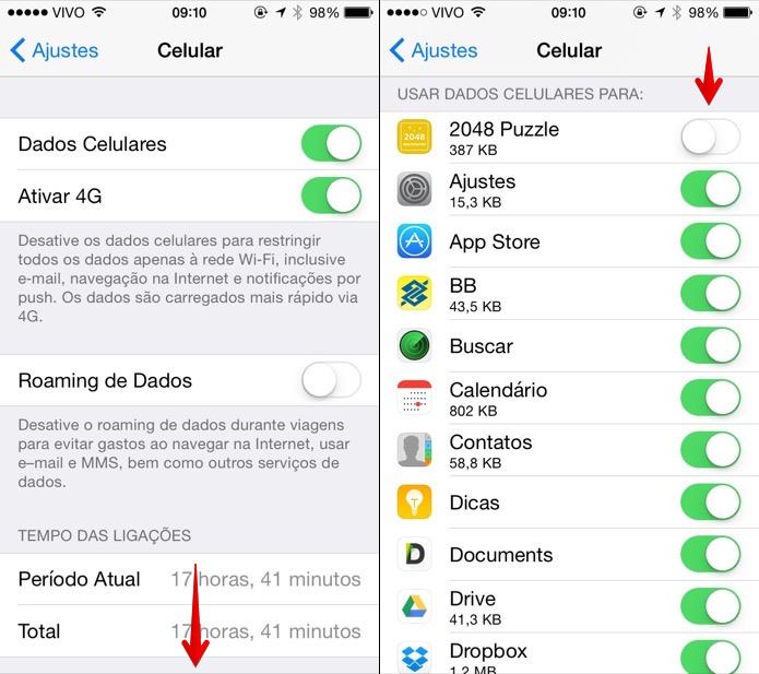 Desativando dados móveis para aplicativos específicos (Foto: Reprodução/Helito Bijora)