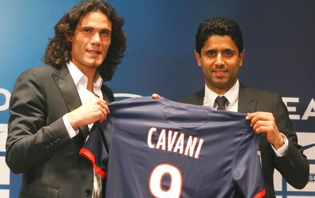 Cavani Nasser Al Khelaifi Paris Saint-Germain PSG (Foto: AP)
