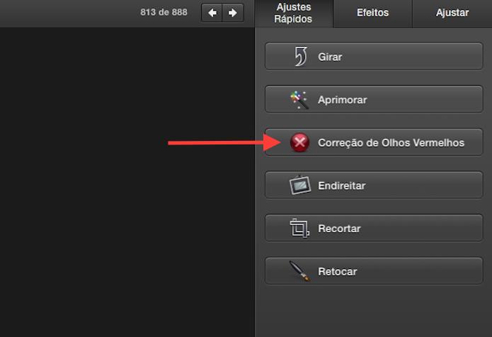 Acessando a ferramenta de correção de olhos vermelhos do iPhone do Mac OS X (Foto: Reprodução/Marvin Costa)