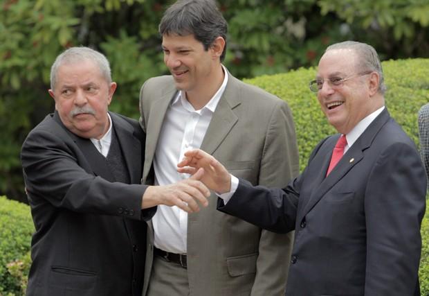 Lula, o ex-ministro Fernando Haddad e o deputado Paulo Maluf (Foto: Eliária Andrade / Agência o Globo)