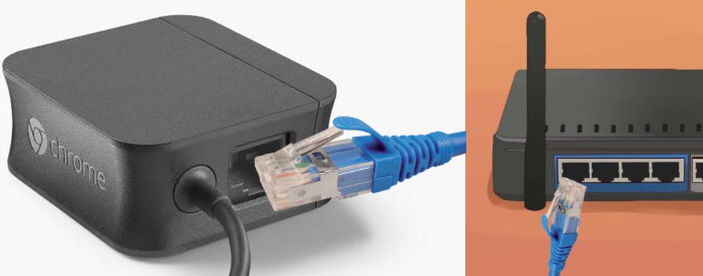 Conectando o cabo Ethernet no adaptador e no roteador da rede (Foto: Edivaldo Brito/TechTudo)