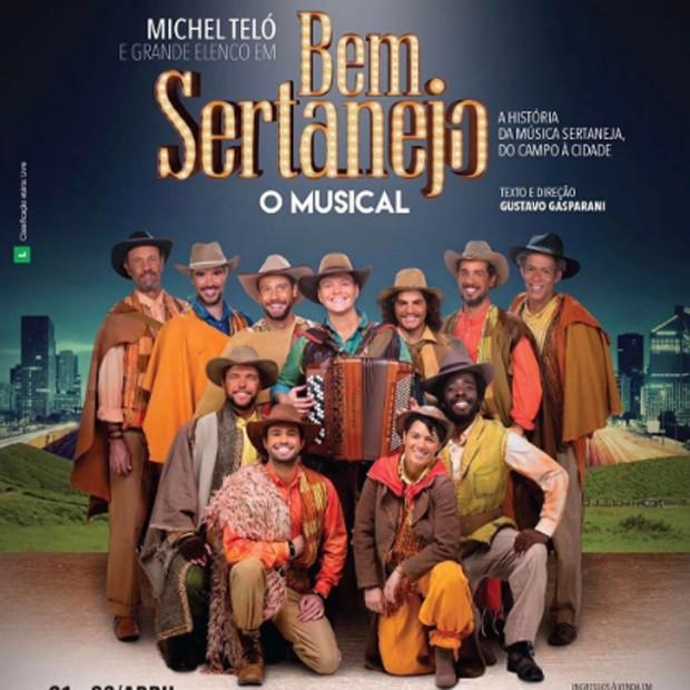 Michel Teló entre o elenco de 'Bem Sertanejo - O Musical' (Foto: Reprodução/Instagram)