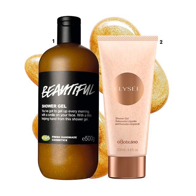 1 Shower gel Beautiful,  R$ 87, Lush 2 Shower Gel Sabonete Líquido Corporal Elysée,  R$ 45,  O Boticário  (Foto: divulgação)