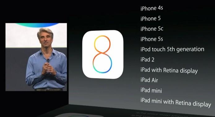 Os aparelhos que irão receber o iOS 8 a partir do segundo semestre de 2014 (Foto: Reprodução/ Apple)
