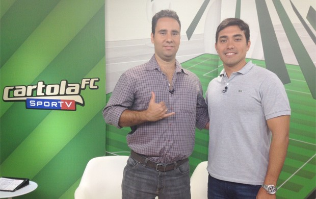 Fl&#225;vio Dilascio, rep&#243;rter do SporTV.com, e Kenz&#244; Machida, rep&#243;rter da TV Globo, foram os convidados do programa do Cartola (Foto: Reprodu&#231;&#227;o SporTV)
