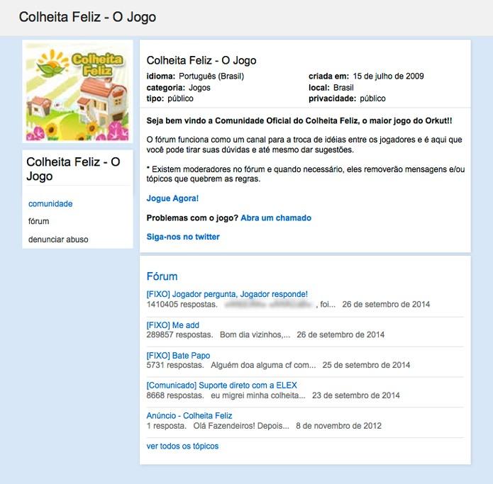 Página de comunidade pesquisada dentro do arquivo de comunidades do Orkut (Foto: Reprodução/André Sugai)