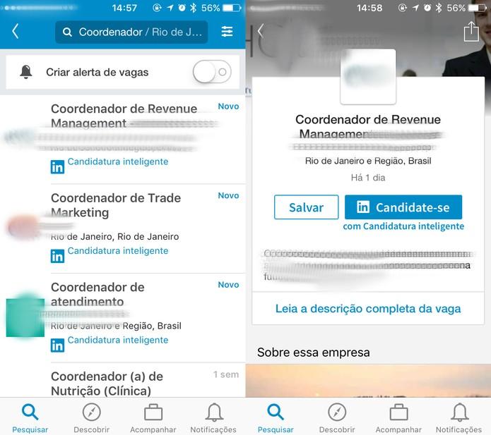 Resultado das vagas exibidas do LinkedIn (Foto: Reprodução/Felipe Vinha)