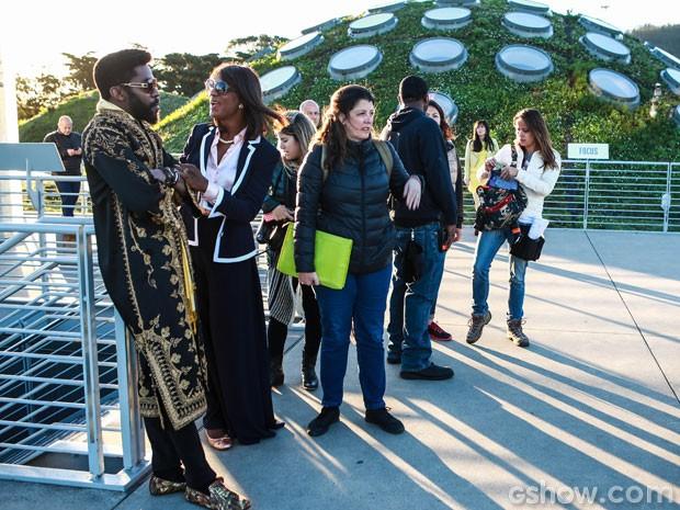 A equipe de Geração Brasil durante as gravações no Academia de Ciências da Califórnia (Foto: Aline Kras/TV Globo)