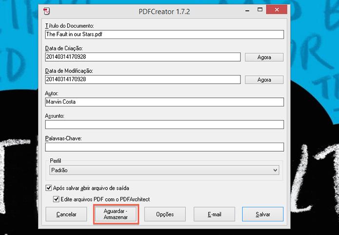Deixando o processo de impressão na fila do PDFCreator (Foto: Reprodução/Marvin Costa)