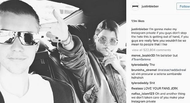 Justin pediu que os fs parassem com as mensagens ofensivas, caso contrrio ele apagaria seu perfil  (Foto: Reproduo/Instagram)