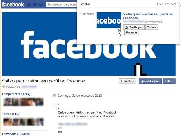 Golpe utiliza evento com promessa de saber quem visitou um perfil no Facebook. A função não existe na rede social (Foto: Divulgação/Linha Defensiva)