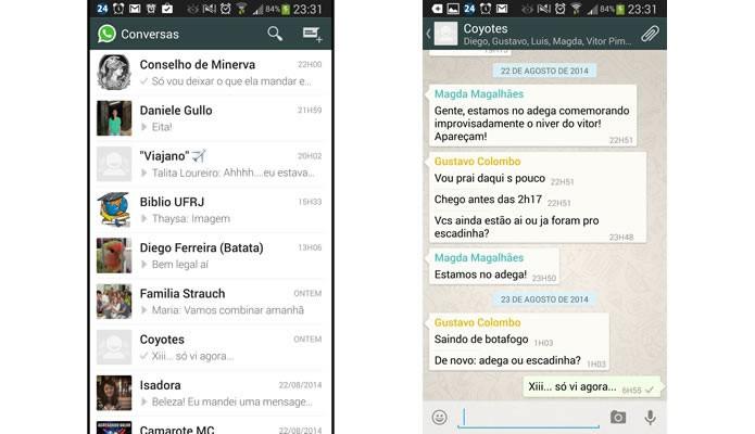 Entre na conversa do Whatsapp que possui a galeria de mídia que você deseja limpar (Foto: Reprodução/Daniel Ribeiro)