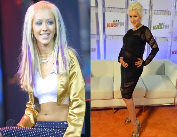 Christina Aguilera também não se escondeu após o nascimento de seus filhos, quando ainda exibia os pesos extras vindos com a gravidez. Após alguns meses, ela perdeu mais de 22 quilos. (Foto: Getty Images)