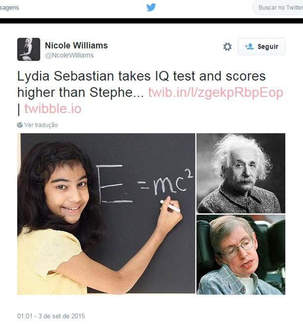 Nas redes sociais, feito de Lydia foi comparado com QI de Einstein e Hawking (Foto: Reprodução/Twitter)