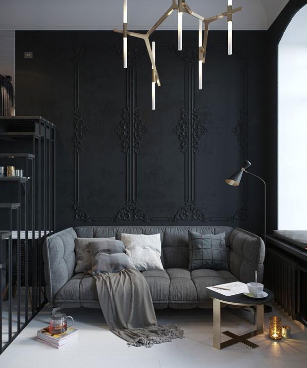Décor do dia: sala de estar preta  mistura vintage e atual (Foto: reprodução)