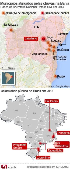 mapa calamidade bahia (Foto: Arte/G1)