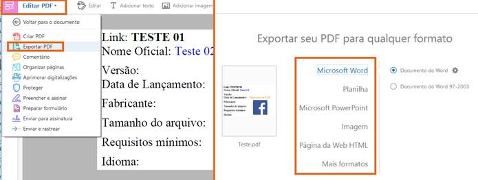 Exporte o PDF com modificações para outros formatos e salve no computador (Foto: Reprodução/Barbara Mannara)