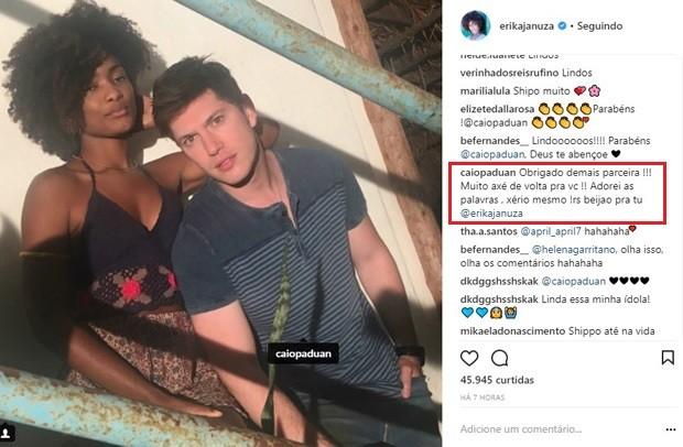 Erika Januza parabeniza Caio Paduan e ator responde (Foto: Reprodução/Instagram)