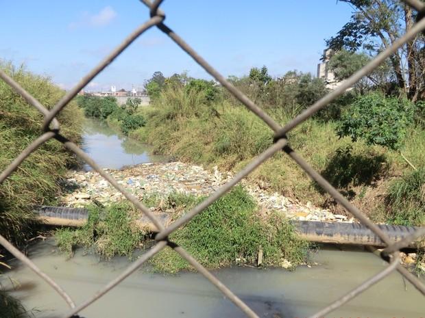 Foz do rio Guaió, em Suzano (Foto: Midaglia/Cetesb)