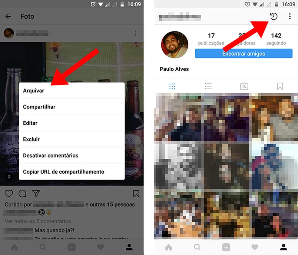 Função Arquivar tira fotos do perfil público no Instagram (Foto: Reprodução/Paulo Alves)
