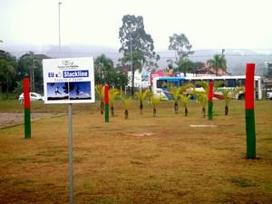 Estrutura de Slackline é montada em Parque de Criciúma  (Foto: Divulgação/Prefeitura de Criciúma)