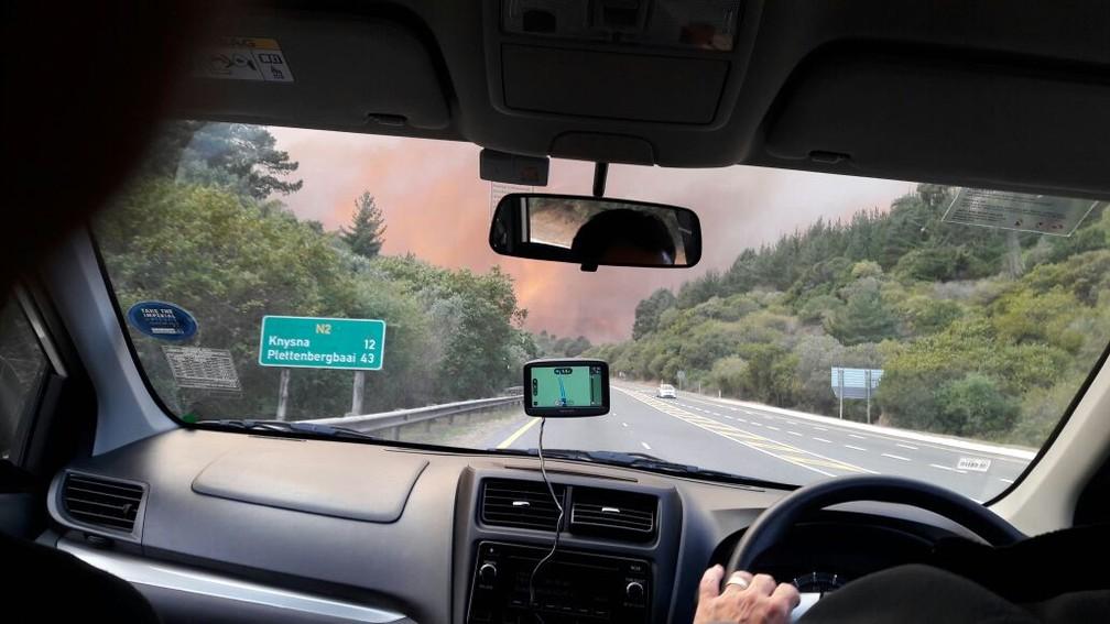 Incêndio na África do Sul (Foto: Wilson Luiz Araújo dos Santos - Arquivo pessoal )