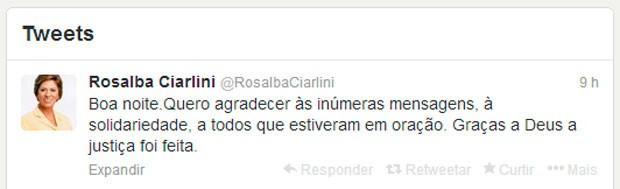 Pelo Twitter, Rosalba Ciarlini agradeceu pelo apoio dos últimos dias (Foto: Reprodução/Twitter)
