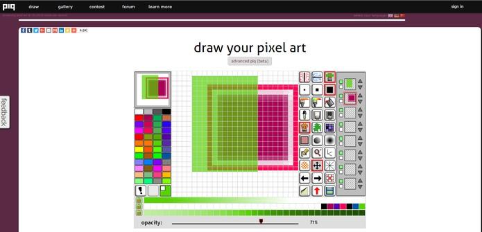 Recurso online Piq permite montar projetos de Pixel Art de forma simples (Foto: Reprodução/Barbara Mannara)