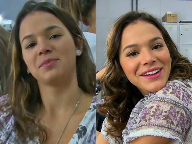 Veja Bruna Marquezine no antes e depois da caracterização para viver Marizete de I Love Paraisópolis (Foto: Vídeo Show / TV Globo)