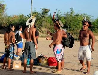 Índios Pataxó e Xerente foram as primeiras etnias a chegar para os IV Jogos Tradicionais Indígenas (Foto: Ângela Gonzalez/Ascom Seel)