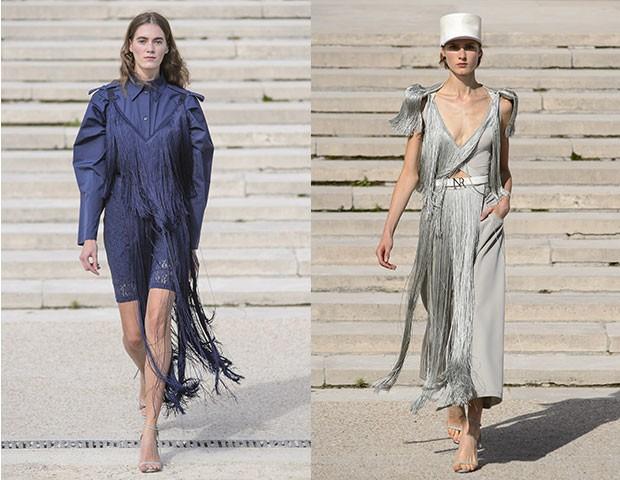 Franjas glamourosas e em tecidos delicados foram os destaques na passarela de Nina Ricci (Foto: Imaxtree)