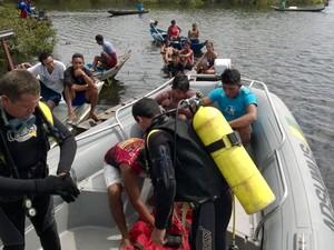 buscas à vítima de naufrágio em Santarém (Foto: Divulgação/ 5ª seção do 4ºGBM)