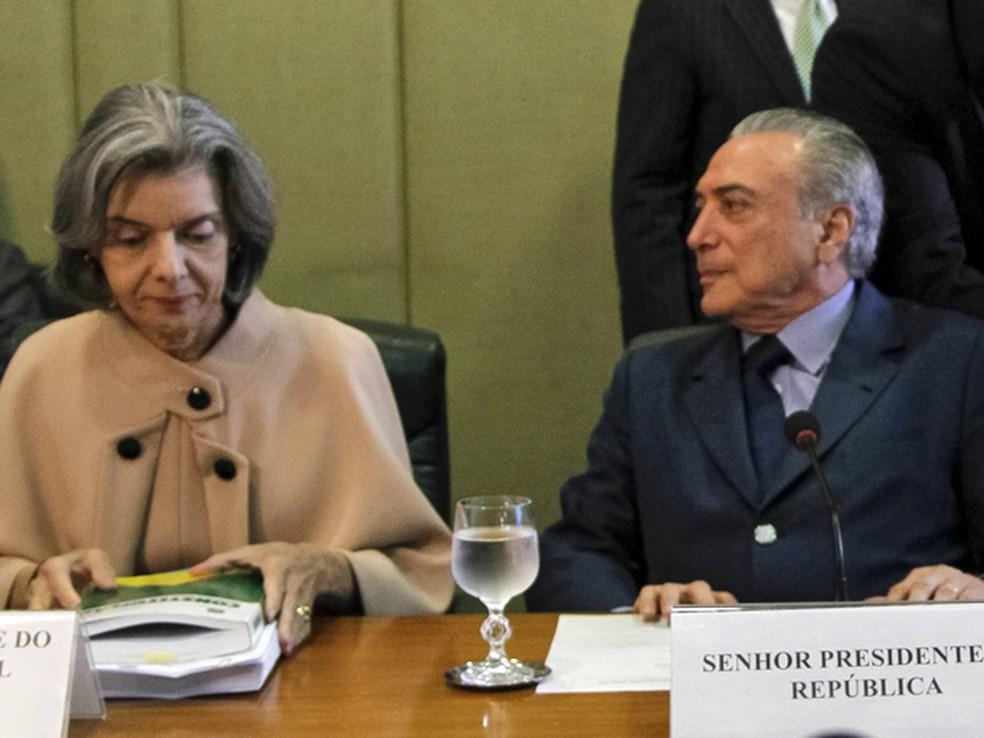Cármen Lúcia e Temer devem tratar na conversa de ações conjuntas entre os Poderes Executivo e Judiciário para combater a crise nos presídios (Foto: Beto Barata / Presidência)
