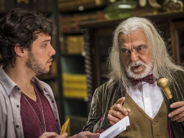 Ator interpreta sábio que ajuda Miguel, personagem de Jayme Matarazzo, a cumprir sua missão (Foto: Paulo Belote/TV Globo)