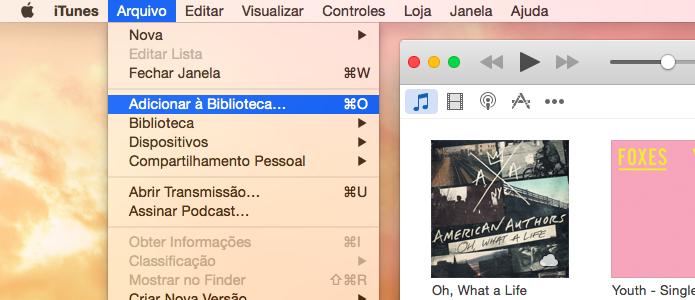 Adicionando pasta à biblioteca do iTunes (Foto: Reprodução/Helito Bijora)