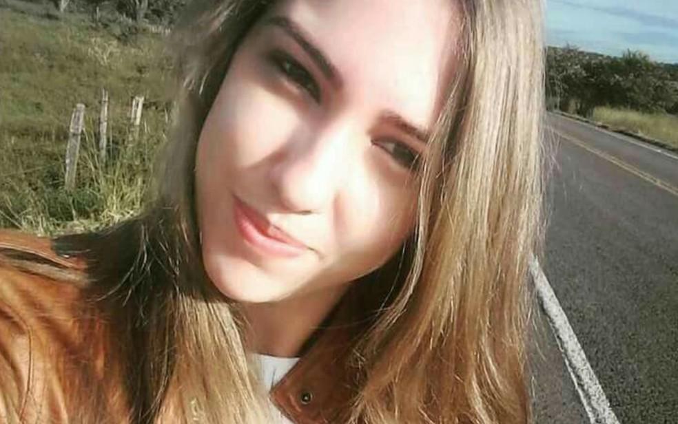 Taynna ficou ferida durante a explosão do presídio de Guapó (Foto: Reprodução/ TV Anhanguera)