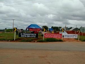 Protesto teve início nesta quarta-feira (18) no Médio-norte de Mato Grosso (Foto: Alessandro Pivetta)