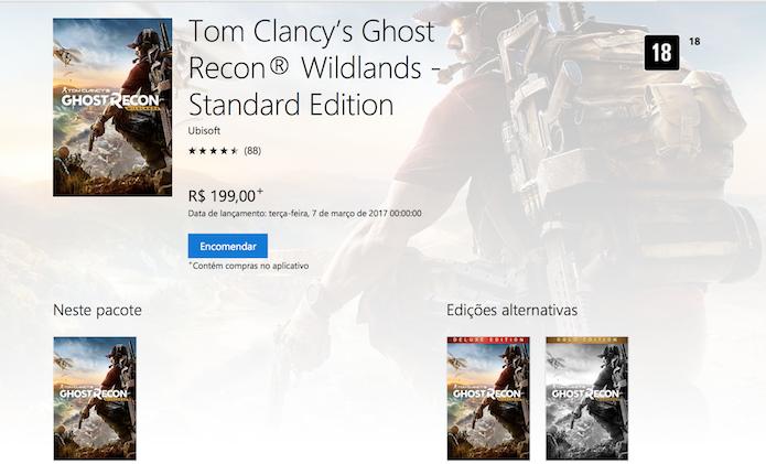 Ghost Recon: Wildlands: preço na Xbox Live é menor em comparação ao valor na PSN (Foto: Reprodução/Victor Teixeira)