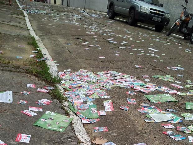 Eleitores reclamam de santinhos espalhados pelas ruas de Eldorado (Foto: Anna Gabriela Ribeiro/G1)