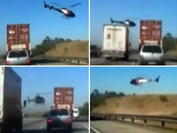 Perseguição policial usa helicóptero no Rodoanel (Foto: Reprodução)