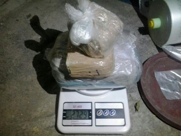 Entorpecentes e materiais apreendidos pela Polícia Militar da Paraíba após denúncia anônima (Foto: 5º BPM Sul/PB)