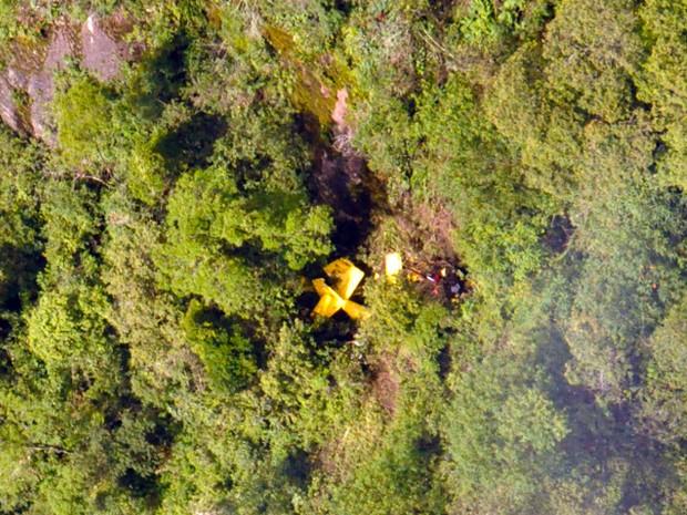 Destroços de monomotor foram encontrados em meio à mata. (Foto: Esquadrão Pelicano / FAB)