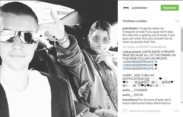 Foto postada por Justin Bieber que causou a polêmica (Foto: Reprodução / Instagram)