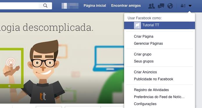 Acesse a página que você quer visualizar como visitante (Foto: Reprodução/Helito Bijora)