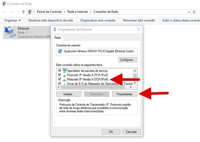 Acessando as propriedades do protocolo IPv4 (Foto: Felipe Alencar/TechTudo)  (Foto: Acessando as propriedades do protocolo IPv4 (Foto: Felipe Alencar/TechTudo) )
