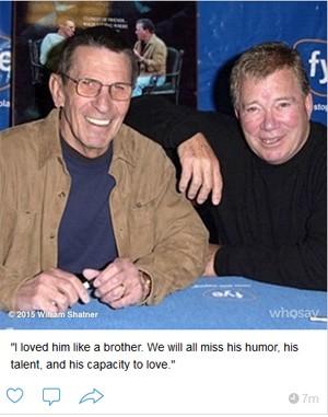 Foto divulgada por William Shatner, lamentando a morte de Leonard Nimoy (Foto: Reprodução / WhoSays)