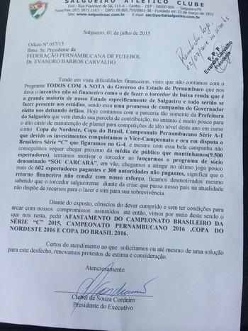 Carta do Salgueiro para a FPF  (Foto: Geraldo Neto/Arquivo Pessoal)